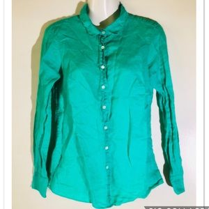 "J crew ""perfect"" green button down collared shirt"